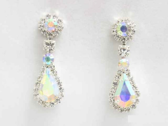SILVER DANGLING EARRINGS CLEAR AB STONES ( 6441 SAB )