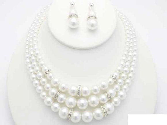 3 STRAND WHITE PEARL NECKLACE SET CLEAR STONES ( 19069 WT )