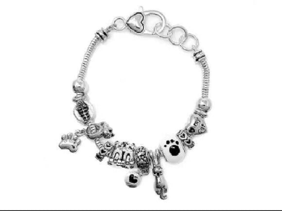 SILVER BRACELET WITH CAT BEADS AND CHARMS ( 08500 )