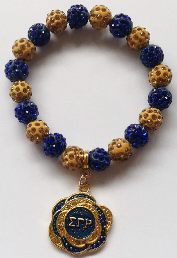 GOLD BLUE STRETCH BRACELET SIGMA GAMMA RHO CHARM ( 3864 )
