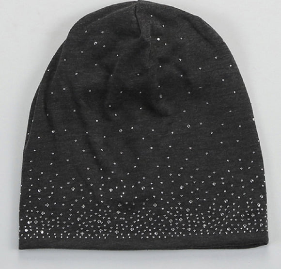 DARK GRAY STRETCH BEANIE WITH CLEAR RHINESTONES ( 1002 )
