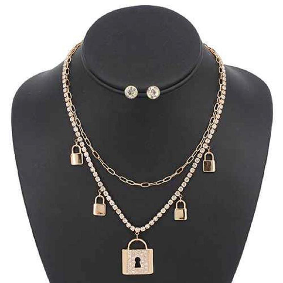 GOLD NECKLACE SET LOCKS ( 5113 GDCLR )
