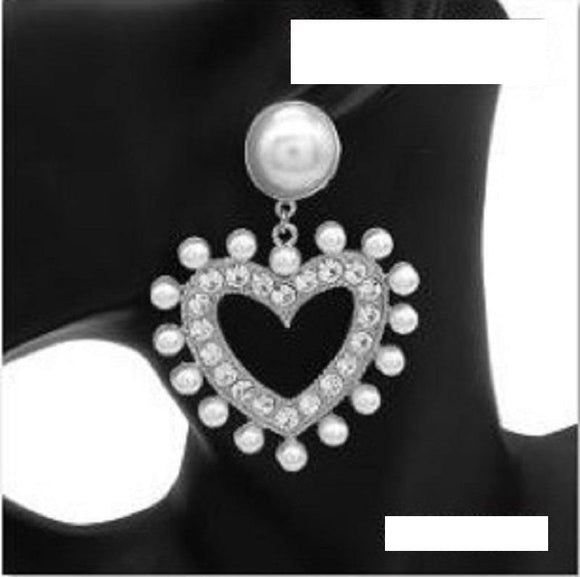 LARGE SILVER HEART EARRINGS CLEAR STONES WHITE PEARLS ( 3068 RDWHT )