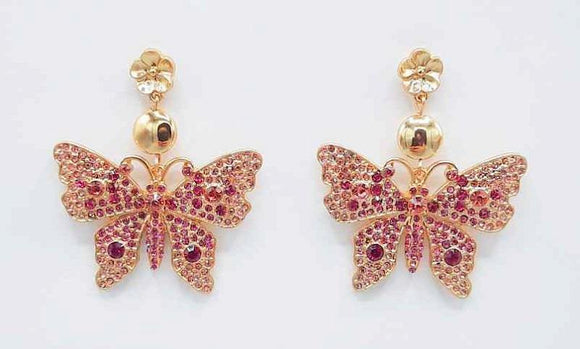 GOLD BUTTERFLY EARRINGS PINK STONES ( 1191 GDPK )