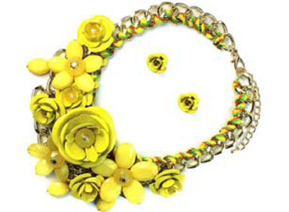 GOLD YELLOW FLOWER NECKLACE SET ( 1234 )