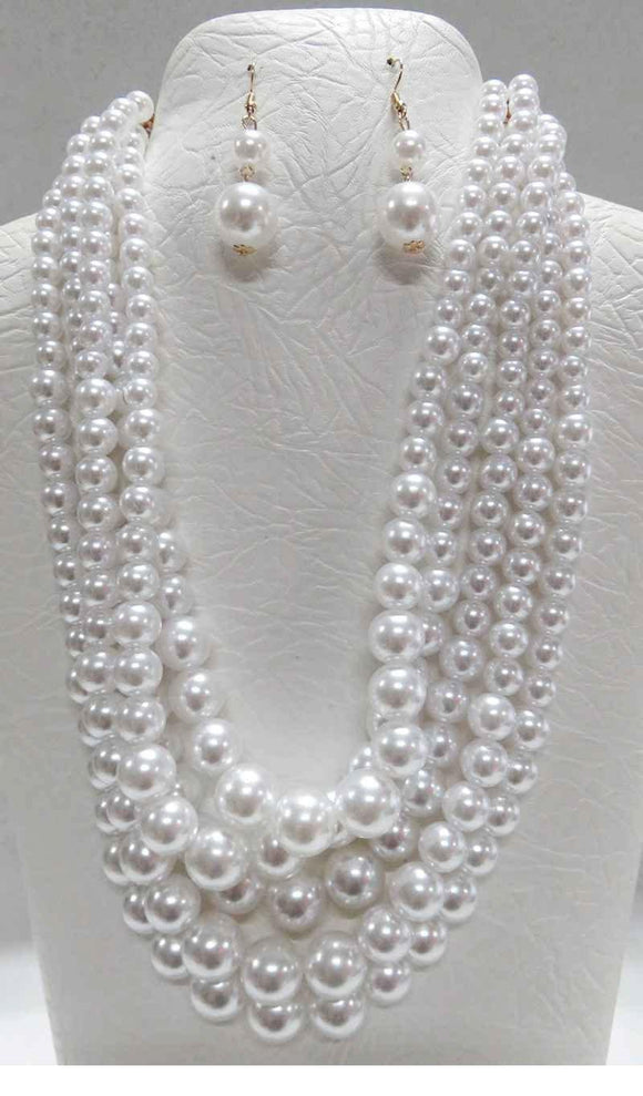 5 STRAND WHITE PEARL NECKLACE SET GOLD ( 3869 WT )