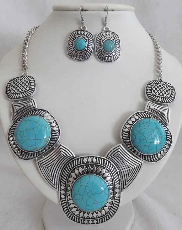 SILVER NECKLACE SET TURQUOISE STONES ( 3590 )