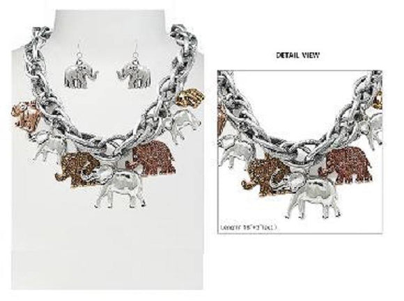 Chunky MULTI COLOR Elephant Charm Necklace with Matching Dangle Earrings ( 6085 3T )