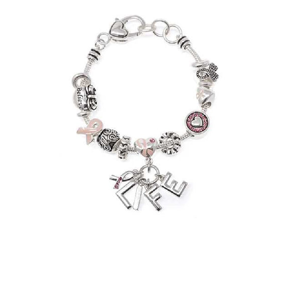 SILVER CHARM BRACELET WITH PINK RIBBON CHARMS AND HEARTS ( 08089 )