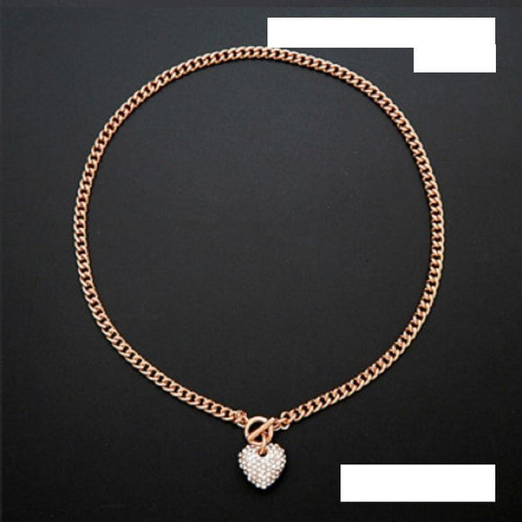 Small ROSE GOLD CLEAR Rhinestone Heart Charm Toggle Necklace ( 2100 RGCLR ) - Ohmyjewelry.com