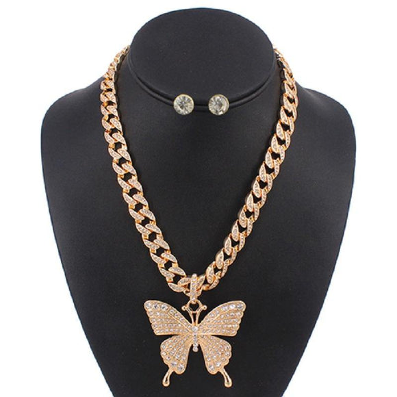 LAYER GOLD NECKLACE SET BUTTERFLY PENDANT CLEAR STONES ( 5086 )