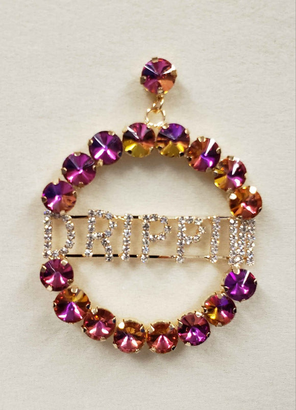GOLD HOOP EARRINGS WITH DRIPPIN PURPLE AB STONES ( 2146 )