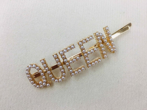 GOLD QUEEN HAIR PIN CREAM PEARLS ( 6060 )