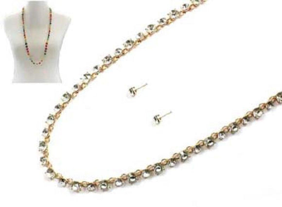 LONG GOLD CLEAR NECKLACE SET ( 7213 GDCRY ) - Ohmyjewelry.com