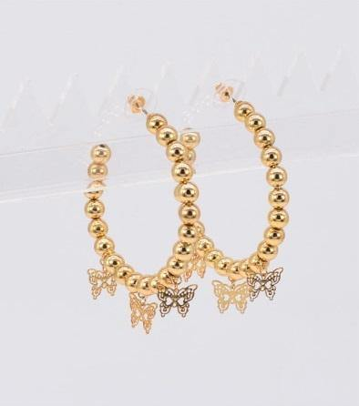 GOLD HOOP EARRINGS DANGLING BUTTERFLIES ( 4028 ) - Ohmyjewelry.com