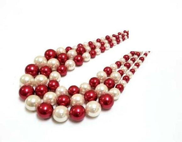 Red and White 3 Layer Graduating Pearl Necklace  ( 0058 WHRD )