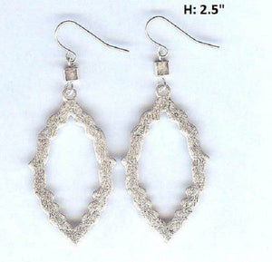 Brushed Matte Silver Moroccan Design Dangle Fish Hook Earrings ( 5073 )