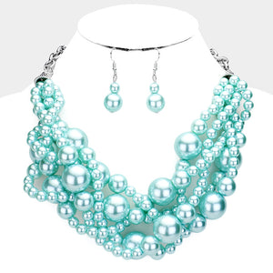 Aqua Blue Braided Pearl Necklace with Dangling Earrings ( 011 )