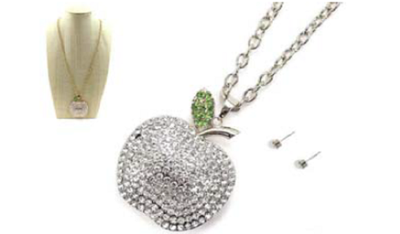 LONG SILVER NECKLACE SET WITH APPLE PENDANT ( 7240 )