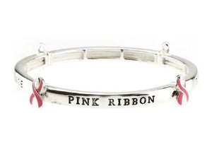 PINK RIBBON STRETCH BRACELET TOGETHER WE CAN MAKE A DIFFERENCE ( 9010 )