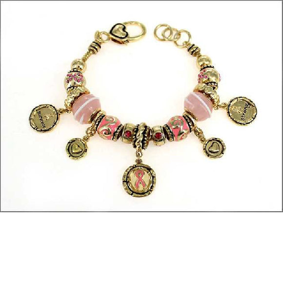 GOLD CHARM BRACELET WITH PINK RIBBON CHARMS AND HEARTS ( 05045 )