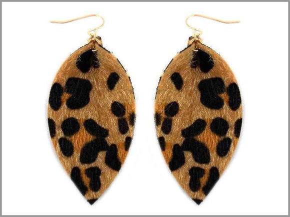 LEOPARD PRINT LEATHER EARRINGS ( 1909 ) - Ohmyjewelry.com