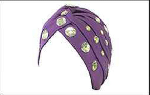 PURPLE TURBAN WITH CLEAR RHINESTONES ( 2425 )