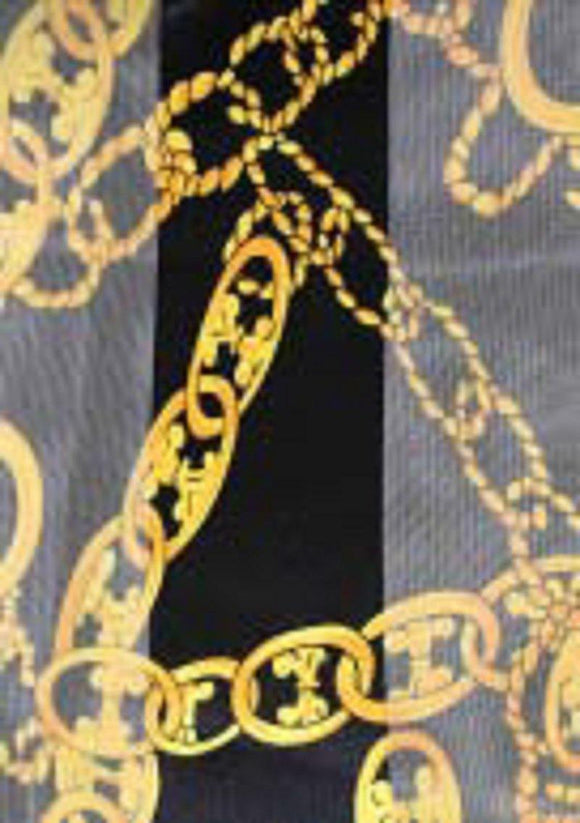 BLACK GOLD COLORED SATIN GOLDEN CHAIN SCARF ( 2059 )