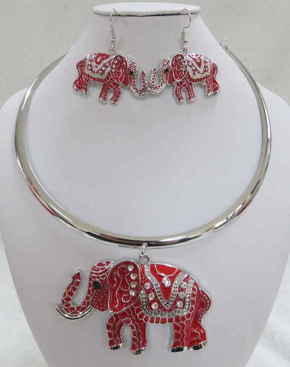 SILVER RED CHOKER NECKLACE SET ELEPHANT CLEAR STONES ( 3931 SRD )