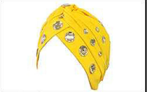 YELLOW TURBAN WITH CLEAR RHINESTONES ( 2425 )