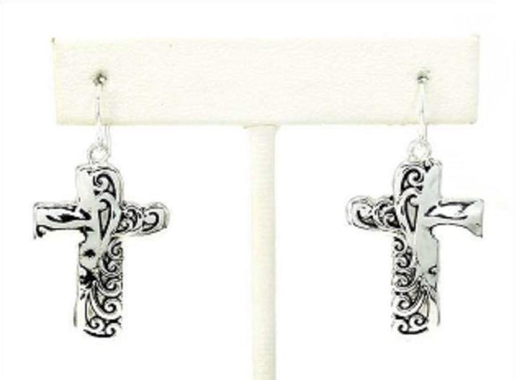 SILVER FILIGREE CROSS EARRINGS ( 1426 )
