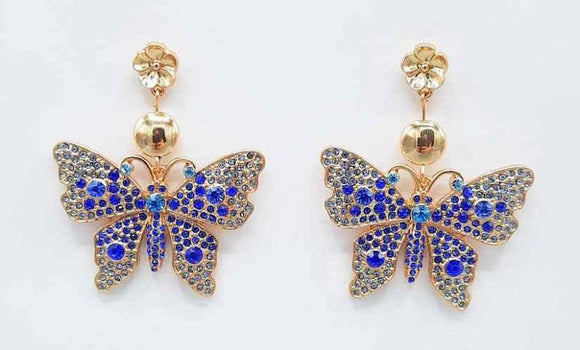 GOLD BUTTERFLY EARRINGS BLUE STONES ( 1191 GDBL )