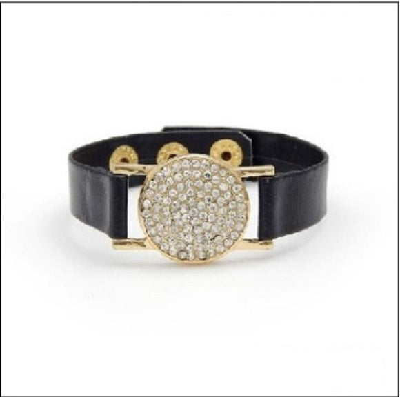 BLACK LEATHER GOLD BRACELET WATCH DESIGN CLEAR STONES ( 2158 GDBLK )