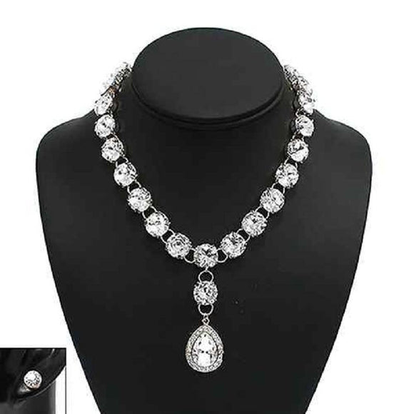 SILVER NECKLACE SET CLEAR STONES ( 1016 S )
