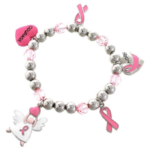 SILVER STRETCH BRACELET DANGLING PINK RIBBON CHARMS ( 82146 )