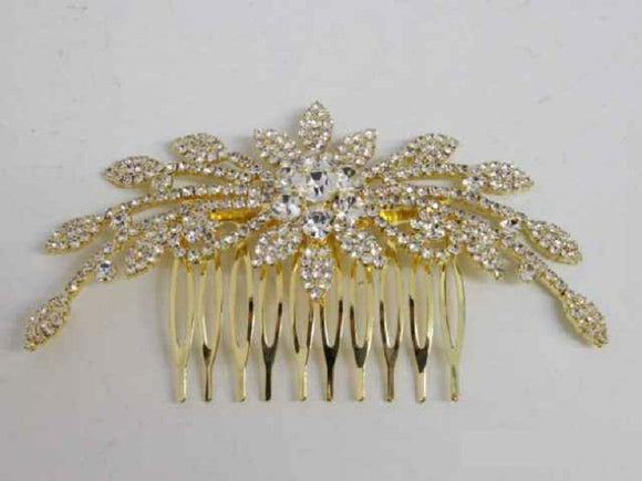 Gold Clear Crystal Formal Hair Comb Accessory ( 3145 GCL )
