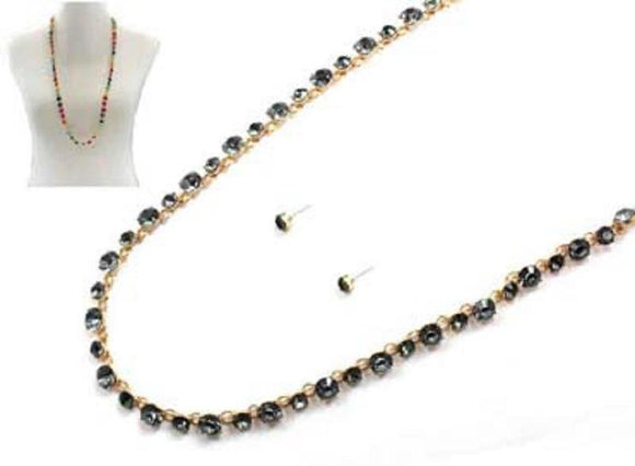 LONG GOLD BLACK DIAMOND NECKLACE SET ( 7213 GDBKD ) - Ohmyjewelry.com