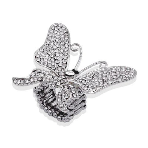 SILVER BUTTERFLY STRETCH RING CLEAR STONES ( 2189 SVCL ) - Ohmyjewelry.com