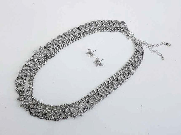SILVER CHAIN NECKLACE SET BUTTERFLIES CLEAR STONES ( 1155 )