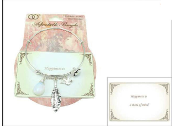 SILVER HAPPINESS IS A STATE OF MIND CHARMS BANGLE ( 06775 )