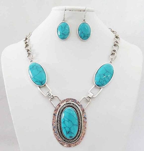 SILVER NECKLACE SET TURQUOISE STONES ( 3195 )