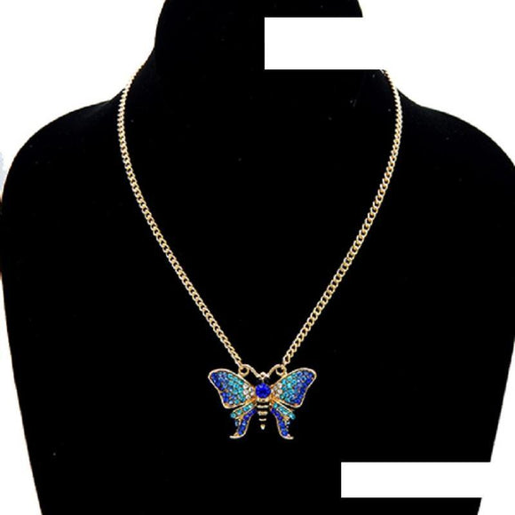 GOLD NECKLACE BUTTERFLY BLUE STONES ( 3449 )