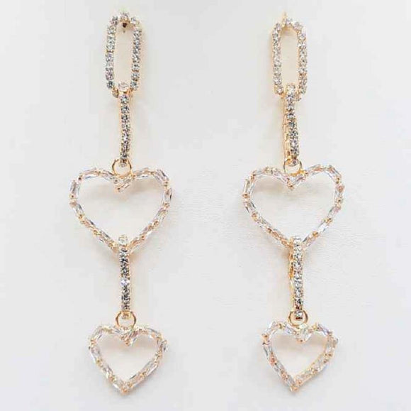 GOLD EARRINGS HEART DESIGN CLEAR STONES ( 5063 GD )