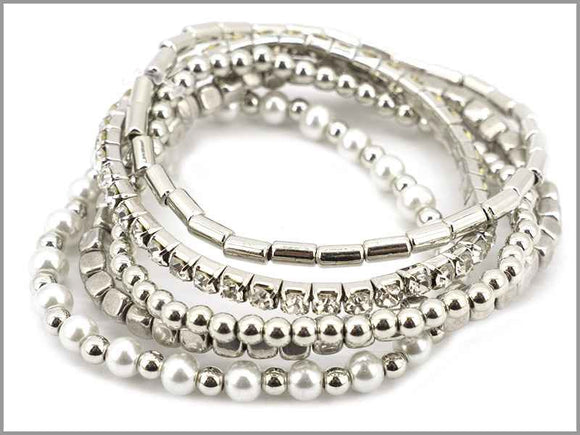 SILVER STRETCH BRACELET PEARLS ( 5762 R )
