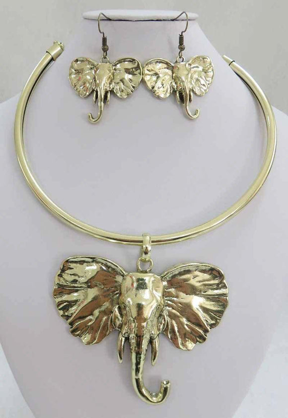 ANTIQUE GOLD CHOKER SET ELEPHANT HEAD ( 3936 AG )