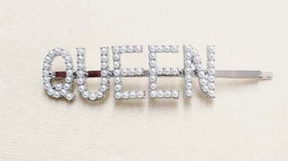 SILVER QUEEN HAIR PIN WHITE PEARLS ( 6060 )