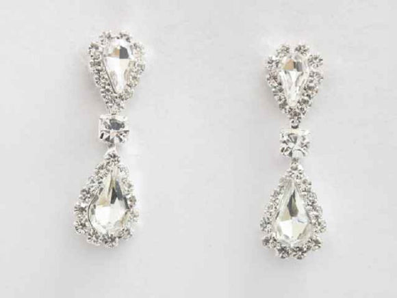 SILVER DANGLING EARRINGS CLEAR STONES ( 6314 SCL )