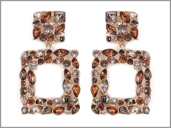 GOLD BROWN STONE SQUARE DANGLING EARRINGS ( 2721 )
