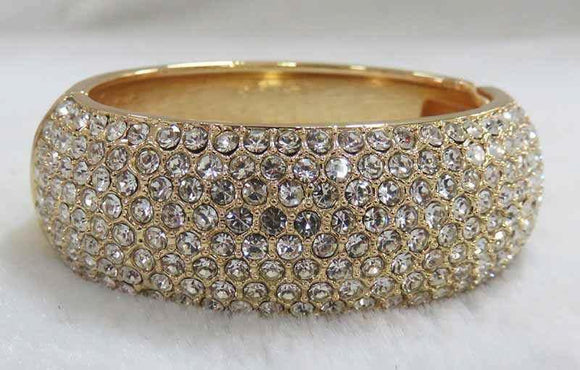 GOLD BANGLE CLEAR STONES ( 730 G )