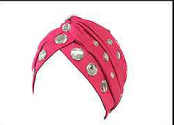 FUCHSIA TURBAN WITH CLEAR RHINESTONES ( 2425 )